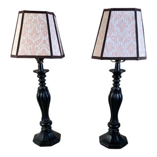 Vintage Resin Table Lamps With Fortuny Shades - a Pair For Sale