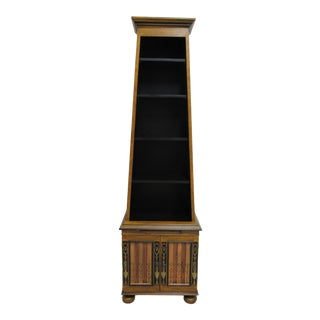 1990s Italian Ardley Hall Regency Paint Decorated Open Book Shelf Curio Cabinet For Sale