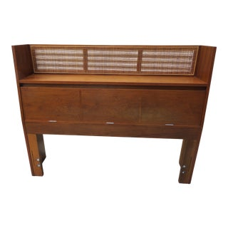 Mid-Century Modern Cane and Wood Storage Full Size Headboard For Sale