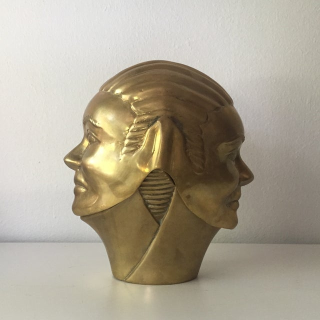 2 Faced Lidded Brass Figure - Image 2 of 11