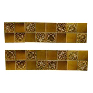 Amber Floral Ceramic Wall Tiles - Set of 8