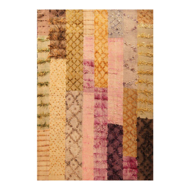 Hand Knotted Pile & Flat Vintage Rug - 6′8″ × 9′9″ For Sale