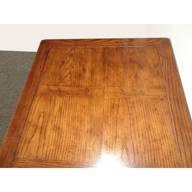 Brown Vintage French Country Henredon Oak Writing Desk W Three Drawers For Sale - Image 8 of 13
