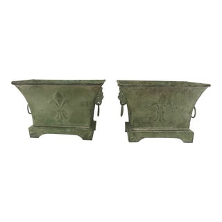 Vintage Verdigris Metal Lion's Head Handle Planters/Cachepots - a Pair For Sale