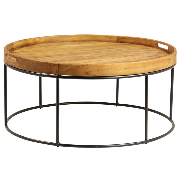 Unique Coffee Table Tray: Round Wood Tray Table