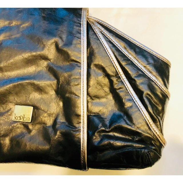 1980s Style -- New Kooba Oversized Black Leather Clutch For Sale - Image 4 of 8
