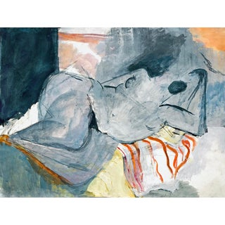 Contemporary Reclining Blue Nude Acrylic Painting For Sale