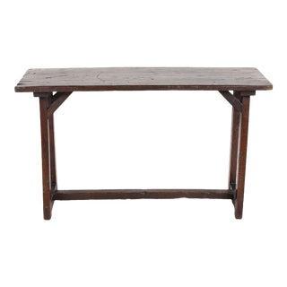 18th C. Rustic Italian Sawhorse Base Side Table For Sale