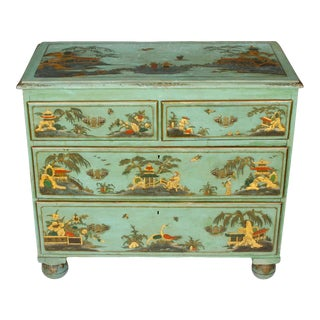Antique Chinoiserie Painted Chest With Gilt Detail For Sale