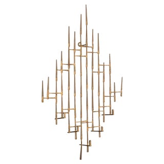 1960s Vintage Abstract Brutalist Candle Wall Sconce Sculpture For Sale