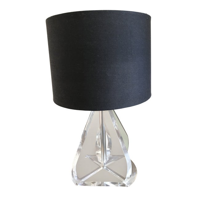 Vintage Lucite Table Lamp With Black Linen Shade
