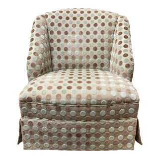 Custom Cole Fax & Fowler Fabric + Skirted Lounge Chair For Sale