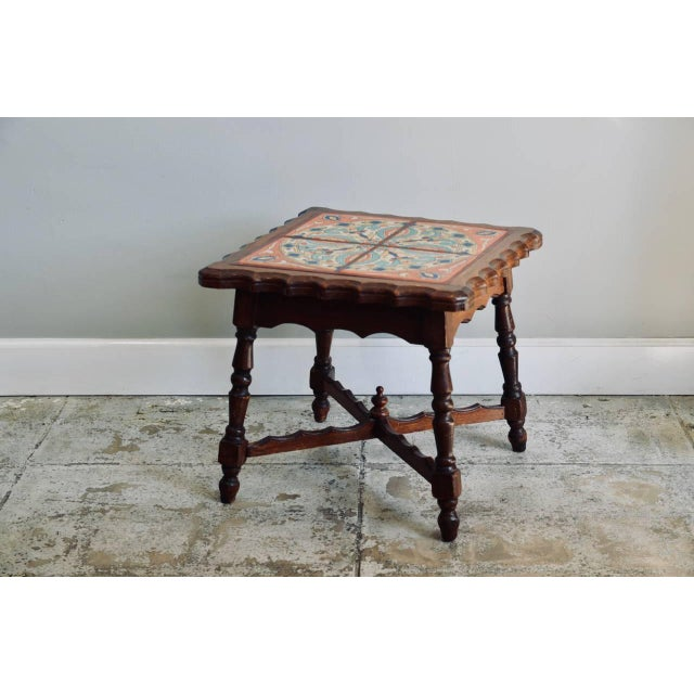 Ceramic Intact Catalina Tile and Oak Side Table For Sale - Image 7 of 7