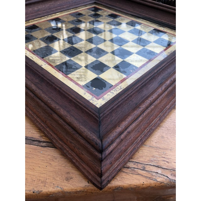 Early 20th Century Early 20th Century Reverse Painted Gold Foil Checkers/Chess Game Board For Sale - Image 5 of 7