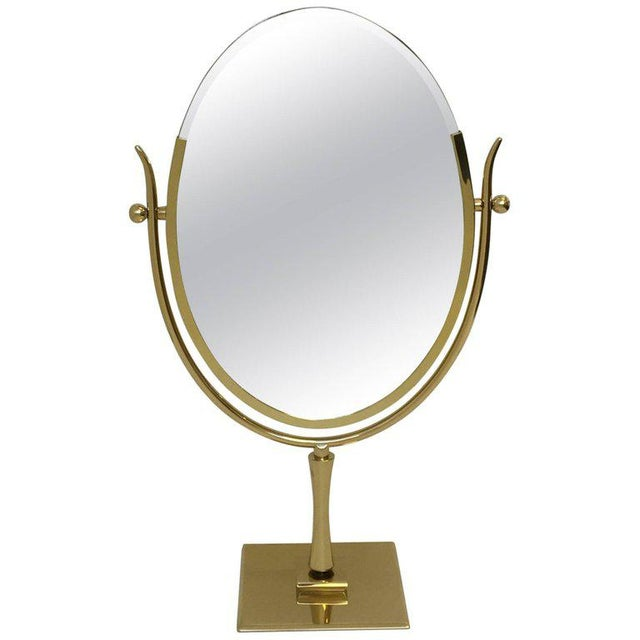 Polish Brass and Leather Vanity Mirror by Charles Hollis Jones For Sale - Image 11 of 11