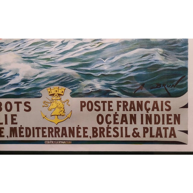 Glass Abel Brun -Messageries Maritimes-Original 1907 Steam Boat French Poster For Sale - Image 7 of 10
