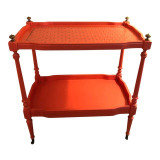 Contemporary Hand Painted Coral Bar Cart With Brass Trim For Sale
