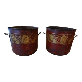 19th Century Pair of French Red Tole Jardinieres For Sale