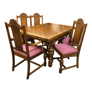 Jacobean Refractory Table With Chairs Set For Sale
