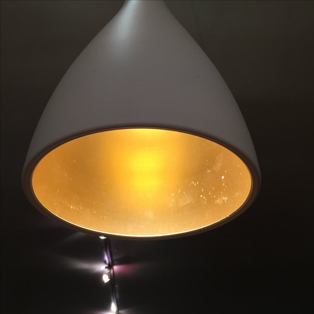 White & Gold Pendant Light Fixture - Image 4 of 7