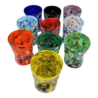 Murano Glass Custom Set of 10 Glasses Goti For Sale