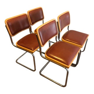 Contemporary Shells Inc. Arthur Umanoff Cesca Cantilever Chairs - Set of 4 For Sale