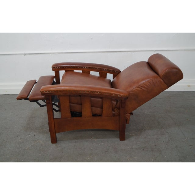 Mission Oak Leather Recliner Lounge Chair - Image 3 of 10