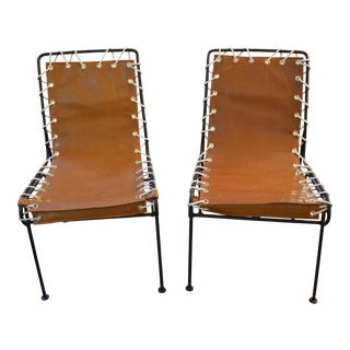 Vintage Mid Century Modern Pipsan Saarinen for Ficks Reed Swanson Patio Chairs - a Pair Newly Upholsted For Sale