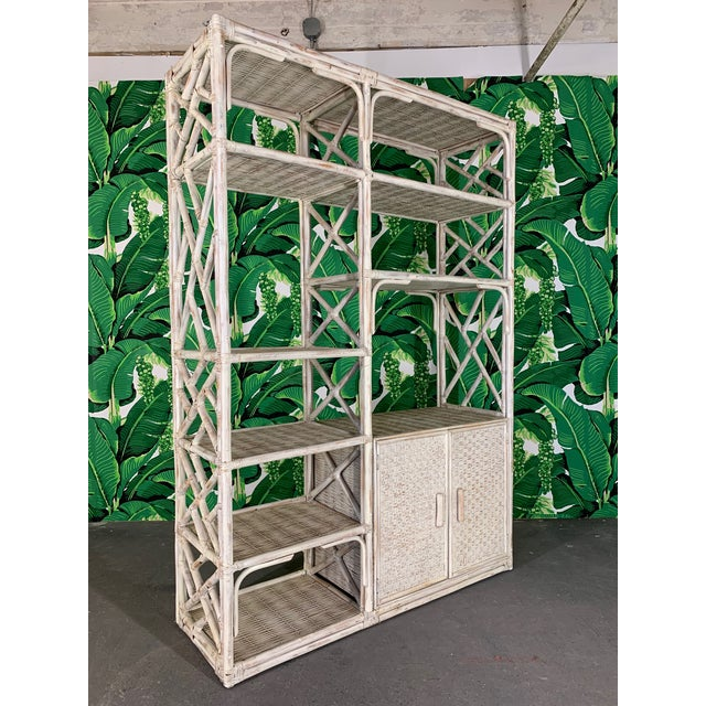 White Vintage Rattan Chinoiserie Etagere For Sale - Image 8 of 8
