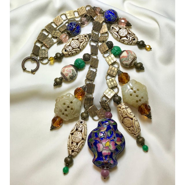 Vintage Chinese Bead and Book Chain Necklace For Sale - Image 4 of 7