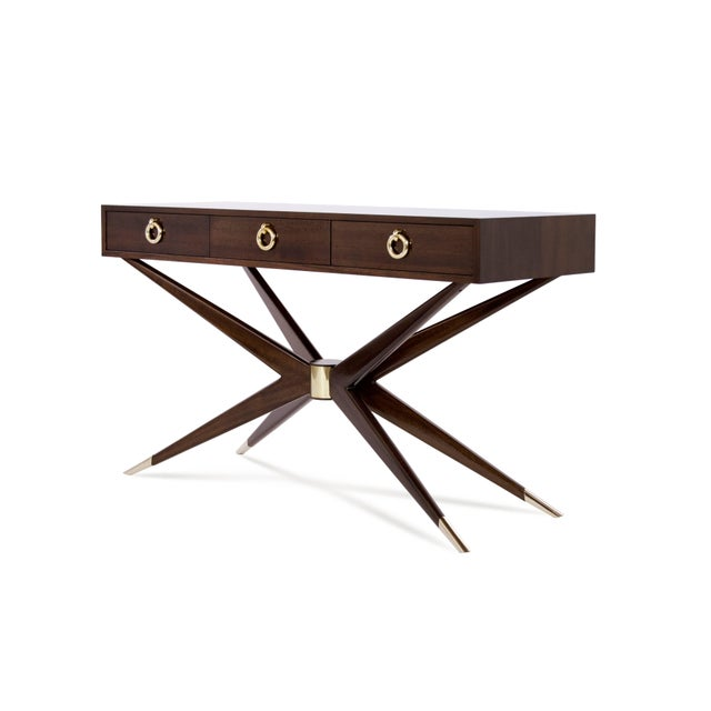 Mahogany Sputnik Console Table For Sale - Image 4 of 10