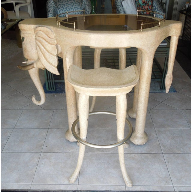 1980s Rare Three Piece 1980s Elephant Bar Table and Stools by Marge Carson For Sale - Image 5 of 7