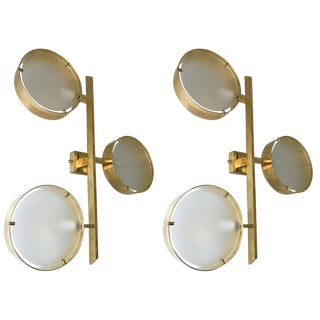 Contemporary Pair of Brass Sconces Three Circle, Italy For Sale