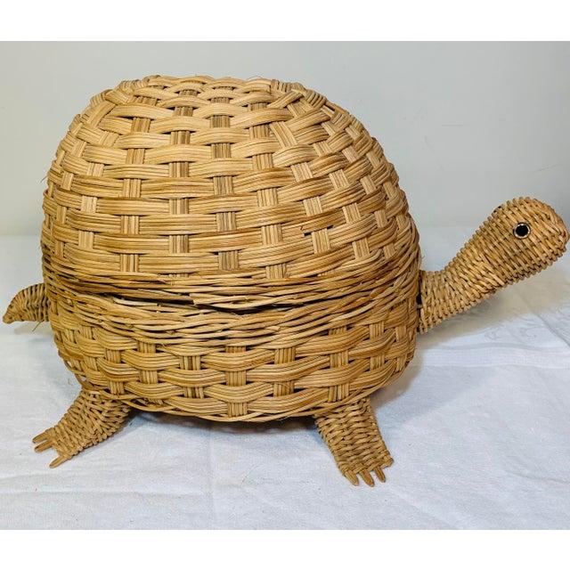 Mid Century Modern Wicker Turtle Storage Box For Sale - Image 10 of 10