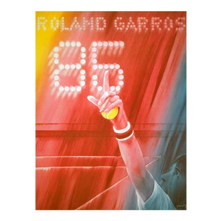 Jacques Monory-Roland Garros-1985 Offset Lithograph-SIGNED For Sale