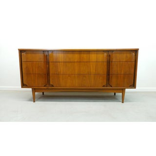 Mid Century Modern Winged Face Walnut 9-Drawer Triple Dresser Preview