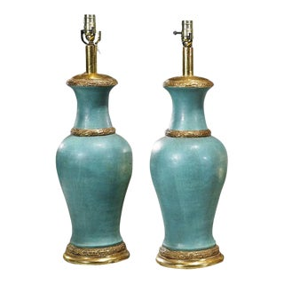 Turquoise Pottery Urns Now Designer Lamps - a Pair