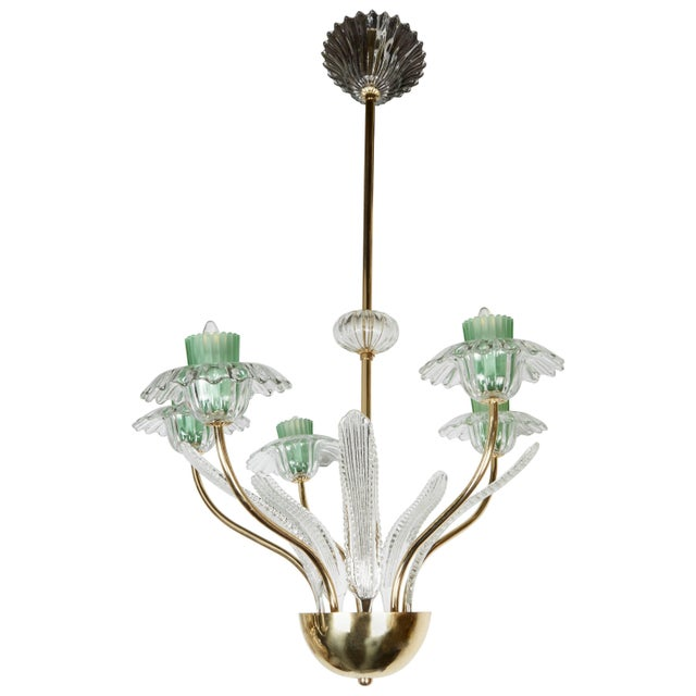 Blown Glass Italian, 1950s Murano Glass and Brass Chandelier For Sale - Image 7 of 7