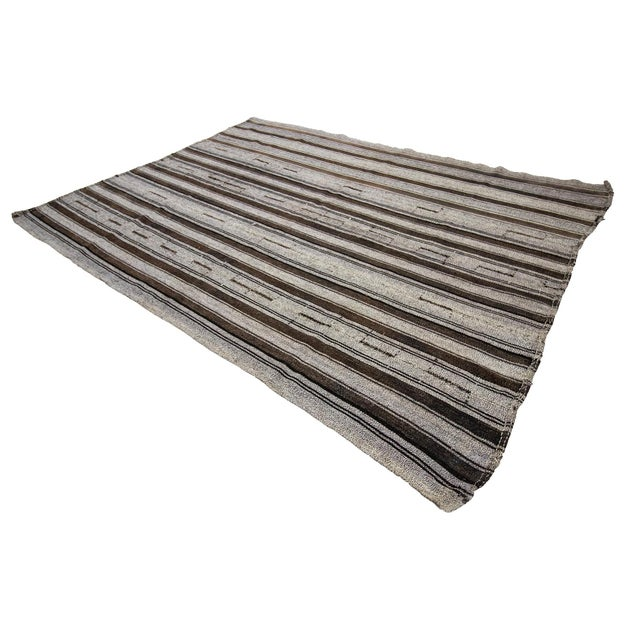 1960s Vintage Gray Striped Kilim Rug- 7′3″ × 9′8″ For Sale - Image 4 of 7
