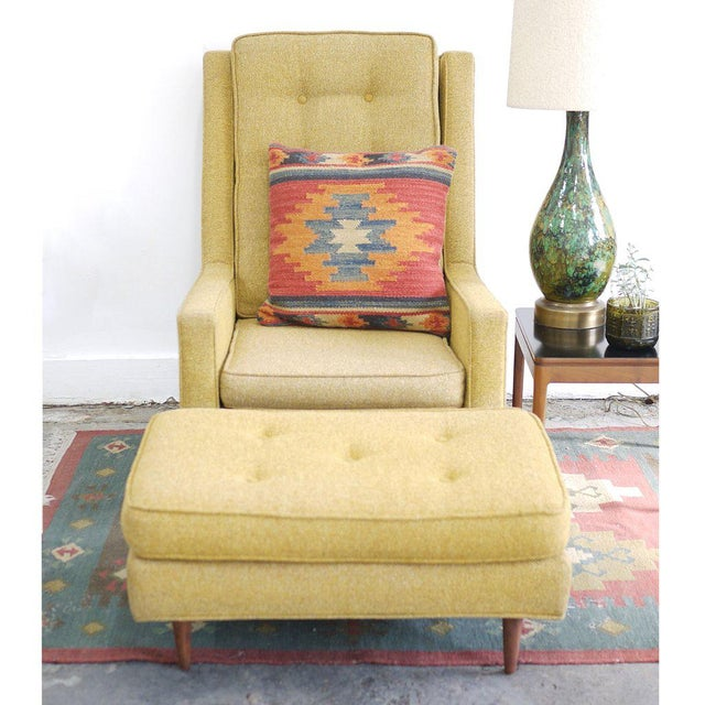 Mid-Century modern high back lounge chair with ottoman in original mustard yellow tweed upholstery. Chair: 39h x 36d x 28w...