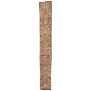 "Vintage Turkish Oushak Extra-Long and Narrow Hallway Runner - 2'3"" X 17'2"" For Sale"