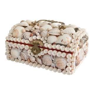 Vintage Coastal Shell Jewelry Box For Sale