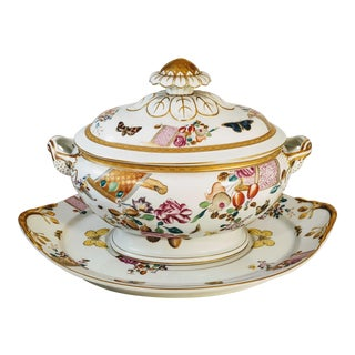 Mottahedah Lowestoff Rose Tureen With Under Plate For Sale