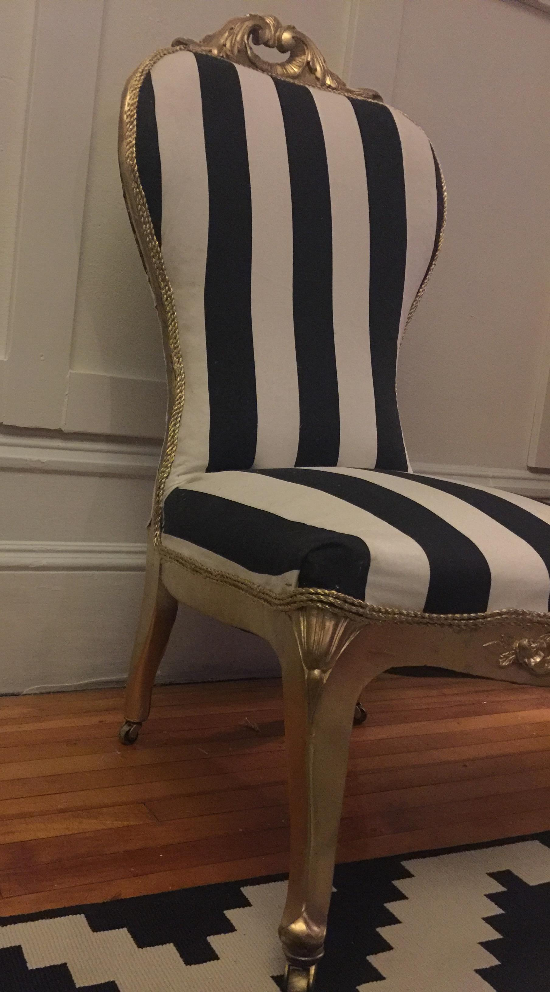 Antique Striped Slipper Chair   Image 4 Of 5