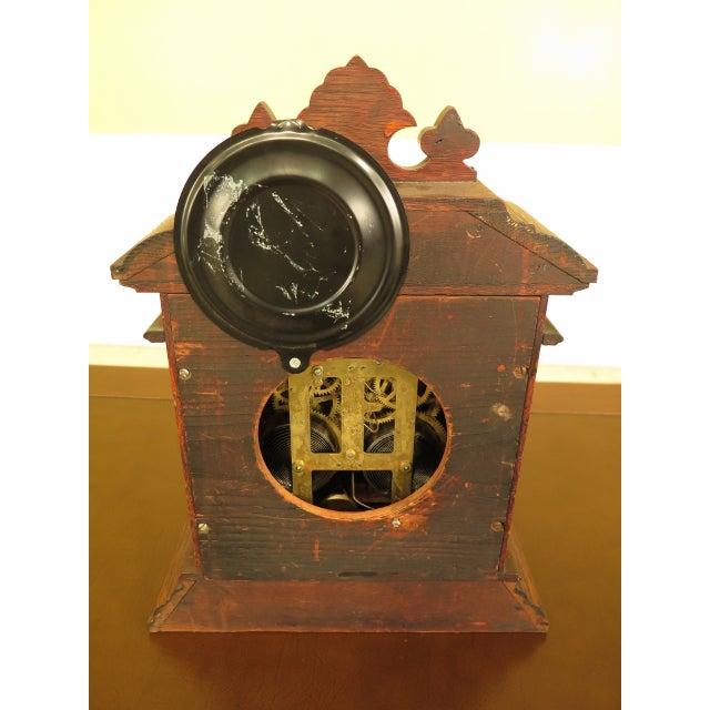 Brown Antique Victorian Oak Mantle Clock For Sale - Image 8 of 10