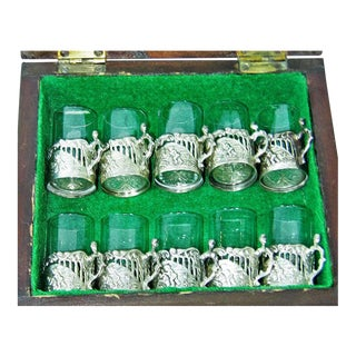 19c Set of 10 Sterling Silver Shot Glasses by W Comyn & Sons – Rare
