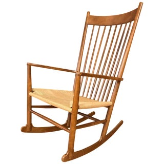 1980s Danish Modern Hans Wegner for Fdb Mobler Beechwood Rocking Chair