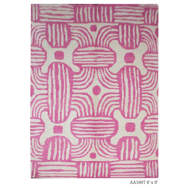 Gray 2020 Aara Rugs Pink Handknotted Wool Rug For Sale - Image 8 of 9