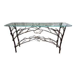 Vintage Patinated Bronze Iron Branch & Vines Sculptural Console Table For Sale