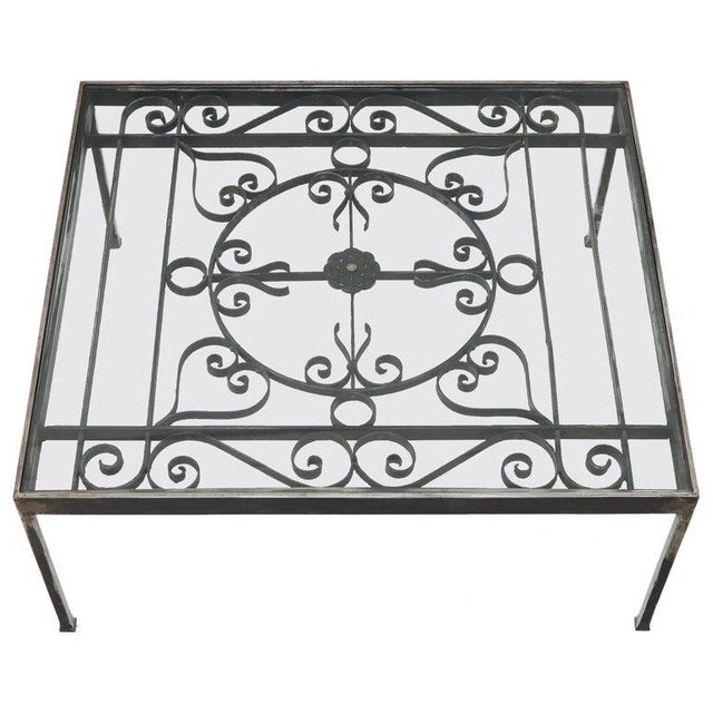 Massive Wide Rectangle Glass Top Wrought Iron Coffee Center Table For Sale - Image 11 of 11